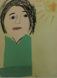 Self Portrait, Collage and Oil Pastels, 4th Grade