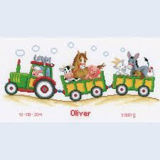 Tractor/Animals Birth Record Counted Cross Stitch Kit - x Cross Stitch For Kids, Cross Stitch Baby, Counted Cross Stitch Kits, Cross Stitch Charts, Cross Stitch Patterns, Cross Stitching, Cross Stitch Embroidery, Stitch Doll, Cross Stitch Collection