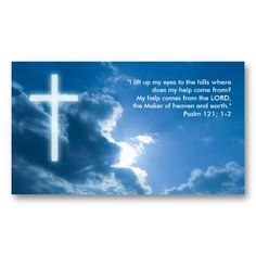 psalm 121 1 2 blue christian business card - Christian Business Cards