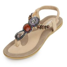 Zicac Women's T Strap Sling Back Bohemian Beaded Flat Beach Thong Sandals (8, Apricot). Sole Material:Cowhells. Adjustable elastic strap for easy slip on wear, T Strap with Embedded Stones, Soft lining and footbed. Style: Bosnia ,Summer Beach. Season: Spring, Summer, Fall.