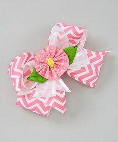 Another great find on #zulily! Pink Zigzag Flower Bow Clip #zulilyfinds