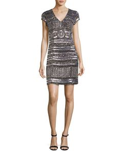 Cap-Sleeve+Beaded+Mini+Cocktail+Dress,+Silver+by+Parker+at+Neiman+Marcus.