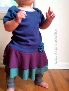 Organic Baby Ruffle Dress for Growing Girls.  Shop #handmade for the #holidays with @I.O. Goods Organic Clothing on #CyberMonday using coupon code CYBERSFETSY