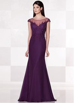 8f65365dad Buy discount Exquisite Tulle   Chiffon Bateau Neckline Sheath Mother of the Bride  Dresses With Rhinestones at Ailsabridal.com
