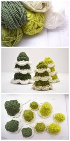 DIY crocheted christmas trees - for my village! Tiny Christmas Trees, Crochet Christmas Ornaments, Holiday Crochet, Handmade Christmas, Christmas Yarn, Christmas Bells, Bag Crochet, Crochet Crafts, Yarn Crafts