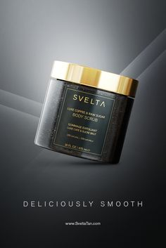 Indulge in a luxurious bathtime experience. Scrub away layers of dead skin cells to reveal smoother, hydrated skin with the ultimate body scrub. #svelta #sveltatan #bodyscrub #luxe #luxury #beauty #skincare #luxebeauty #luxeskincare #selftanner #tanning #tan #exfoliate