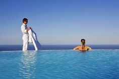 The most exclusive luxury honeymoon among hotels in Santorini Greece, a place of unprecedented serenity, privacy & comfort, purpose-built for VIPs Hotels In Santorini Greece, Santorini Island, Carpe Diem, Luxury Travel Agents, Honeymoon Hotels, Summer Paradise, Plunge Pool, Beautiful Pools, Cheap Hotels