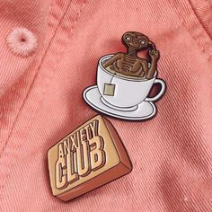 #Repost @pinlife  Now on sale! 50 of each available! 'Anxiety Club' with new and improved colouring and pink rubber clutches and 'E.TEA.' Is now bigger! Get em while they're hot!     (Posted by https://bbllowwnn.com/) Tap the photo for purchase info.  Follow @bbllowwnn on Instagram for the best pins & patches!