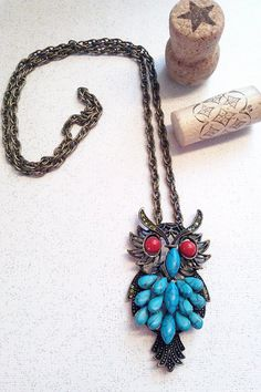 Bohemian Turquoise 70's Owl Necklace by bluehoneyjewelry on Etsy, $42.00