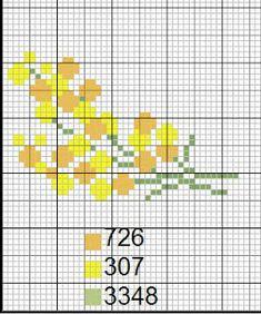 Ricami e schemi a Punto Croce gratuiti: Schemi facili mimose a punto croce