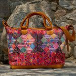 Leather & Geometric Huipile Tote/Suitcase