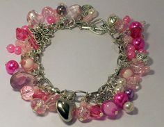 Pink Charm Bracelet by Michelleshandcrafted on Etsy, £12.00