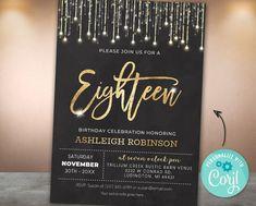 Sparkles Glitter, Gold Sparkle, Printable Birthday Invitations, Party Invitations, Invite, Invitation Ideas, Elegant Invitations, Gold Wedding Invitations, Mom Birthday Crafts