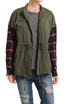 You will love this lightweight Jacket. The contrasting plaid sleeves make it so unique. Pair this with skinny jeans and tall boots or bootie boots!   Lightweight  Plaid Jacket by Blu Pepper. Clothing - Jackets, Coats & Blazers - Jackets California