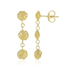 Showcasing intricate textured finish, these dangling earrings feature darling round links and knot style elements. Designed in 14K yellow gold, these come with