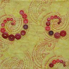 paisley-esque swirl with stitches and buttons. Quilting Projects, Quilting Designs, Sewing Projects, Button Art, Button Crafts, Hand Quilting, Machine Quilting, Quilt Art, Fabric Art
