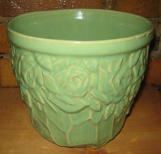 Vintage McCoy Pottery Planter Green Jardiniere with Rose Pattern