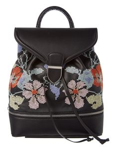 Alexander McQueen Floral-Embroidered Leather Backpack