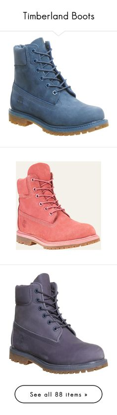 """Timberland Boots"" by missk2blue ❤ liked on Polyvore featuring shoes, boots, ankle booties, ankle boots, blue ink nubuck, women, timberland boots, lace up ankle booties, blue boots and lace up booties"