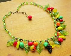 Fruit salad necklace 30's 40's inspired czech by SofiasGarden