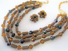 4 Strand Necklace Vintage Topaz Lucite Signed West Germany