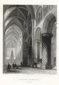 """Winkles' - 1837 - """"DURHAM CATHEDRAL - The Nave"""" - Steel Engraving"""