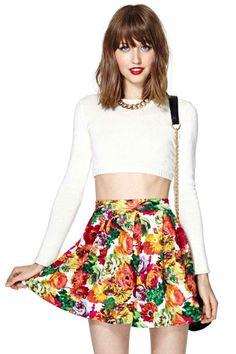 Scuba Skater Skirt - Floral