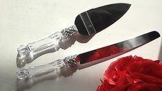 Wedding Party Cake Knife and Server Set with Color Rhinestone Crystal Handles
