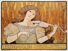 Paul Berthon - Reproduction of a poster advertising 'Violin Lessons', Rue Denfert-Rochereau, Paris, 1898