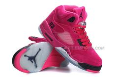 Air Jordan Women Shoes Women's Air Jordan 5 Suede Hot Pink Black [Women's Air Jordan 5 - Maybe this hot pink pair strikes your fancy. Yes, the Women's Air … Air Jordans Women, Jordans Girls, New Jordans Shoes, Nike Air Jordans, Pink Jordans, Air Jordan Sneakers, Pink Sneakers, Sneakers Fashion, Suede Sneakers