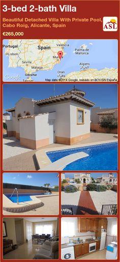 3-bed 2-bath Villa in Beautiful Detached Villa With Private Pool, Cabo Roig, Alicante, Spain ►€265,000 #PropertyForSaleInSpain