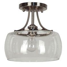 Quoizel Soho 10.62-in W Antique Nickel Clear Glass Semi-Flush Mount Light