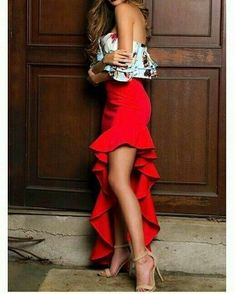 Plus Size Fashion for Women Over 40 - Fashion Trends Sexy Dresses, Beautiful Dresses, Evening Dresses, Casual Dresses, Fashion Dresses, Work Dresses, Dress Skirt, Dress Up, Red Ruffle Dress
