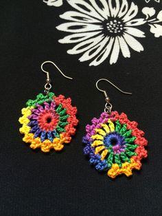 Colorful Crochet Earrings, Round Earrings, Rainbow Earrings