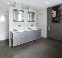 A stunning floating vanity and nib wall separate the walk-in shower from the main part of the bathroom. www.brindabellabathrooms.com.au Floating Vanity, Large Shower, Contemporary Bathrooms, Walk In Shower, Luxury Kitchens, Fixer Upper, Double Vanity, Master Bathroom, New Homes