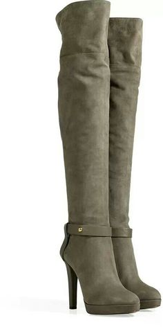Sergio Rossi knee high suede boots in stone grey