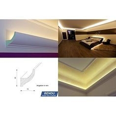BENDU - Klassische und gleichzeitig moderne LED Stuckleisten bzw. Lichtvouten für indirekte Beleuchtung aus Hartschaum DBKL-125-PR. Ideal kombinierbar mit LED Band oder Lichtschlauch.