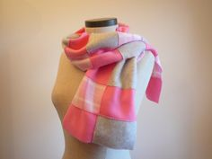 Fleece Scarf  Pink Plaid with Pink and by BelleByJessi