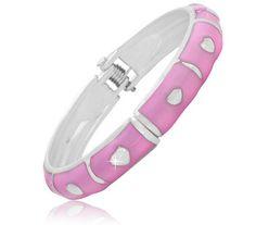 Pink Enamel Hearts Design Baby Bangle $7.99, FREE SHIPPING!!! :)
