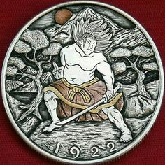 Hobo Nickel Samurai Warrior Discipline hand carved 1922 Peace Dollar Silver Coin Indian Skull, Japanese Warrior, Hobo Nickel, Coin Design, Coin Art, Peace Dollar, Coins For Sale, Commemorative Coins, Samurai Warrior