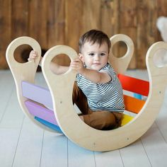 Wooden Rainbow Rocker | Wooden Look Wooden Toy Chest, Wooden Baby Toys, Wood Toys, Diy Sensory Board, Wooden Rocker, Hunting Baby, Wooden Rainbow, Baby Rocker, Montessori Baby