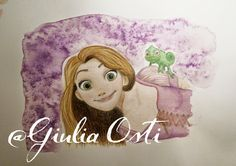 Drawn by me (Giulia Osti) Check out other creations on my blog! #illustration #Tangled #Rapunzel #Pascal #watercolor ≈ Julia's World ≈: ¤ Tangled ¤