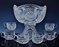 V.FINE 2pc AMERICAN BRILLIANT PERIOD ABP CUT GLASS CENTERPIECE PUNCH BOWL w CUPS Punch Bowl Set, Glass Centerpieces, Cut Glass, Bowls, Period, Cups, American, Serving Bowls, Crystal Centerpieces