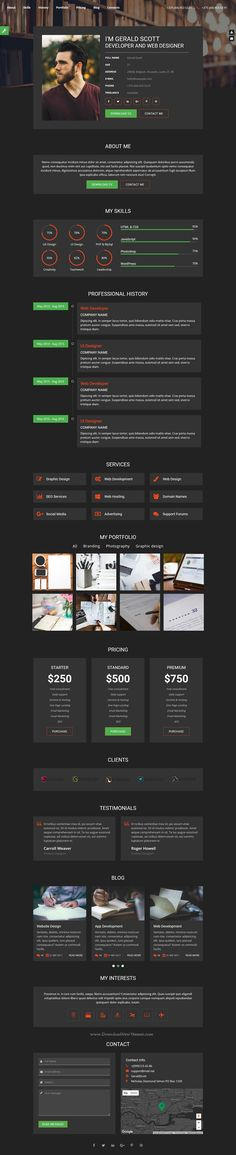 MyProfile is clean \ well designed premium #Bootstrap template for - resume portfolio template