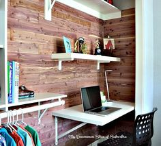 With our oldest son moving into a smaller room we had to get creative with space.  We decided to line the closet with Cedar Safe planks and install a desk insid…