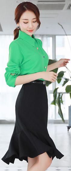 StyleOnme_Asymmetrical Mermaid Hem Skirt, lime buttondown shirt, persimmon smile, auburn ponytail