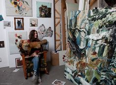 Painter Allison Schulnik poses for a portrait in her studio in Los Angeles, California. Check out her art here.