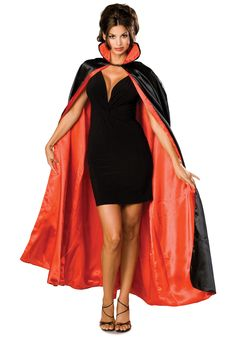 easy diy vampire costume; little black dress, heels, fake fangs, and a red/black cape!