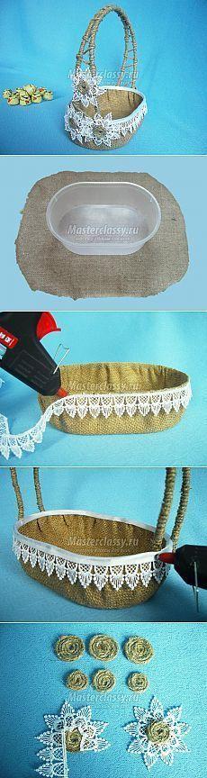 Пасхальная корзинка из мешковины: