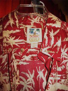JOHN SEVERSON BY KAHALA HAWAIIAN SHIRTS  RED PALM TREES ! SIZE L!100% COTTON!NWT #JohnSeversonByKahala #Hawaiian